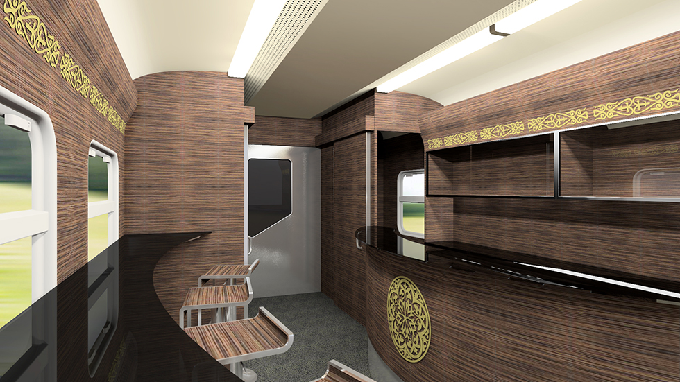 Bar of the intercity train EP3D for Kazakhstan Railways