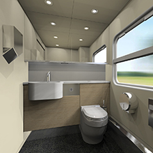 Туалетная комната электропоезда ЭП3Д Казахских железных дорог
