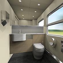 Toilet room of the intercity train EP3D for Kazakhstan Railways